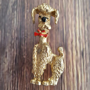 "Jewelry - Goldtone poodle brooch 1.5"" pink marked Taiwan"